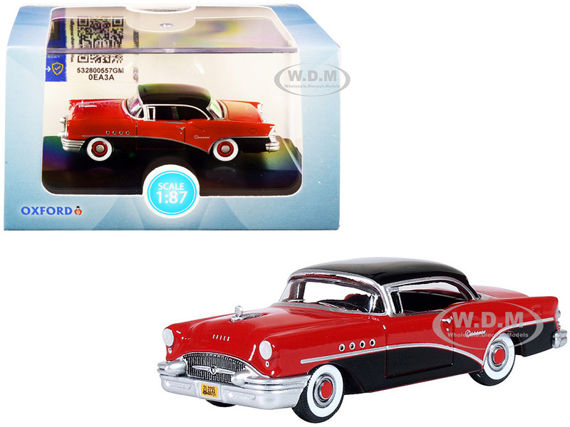 1955 Buick Century Carlsbad Black Cherokee Red 1/87 HO Scale Diecast Model Car Oxford Diecast 87BC55006