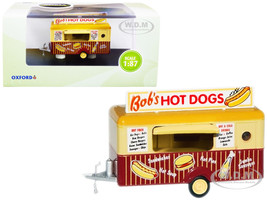 Bob's Hot Dogs Mobile Food Trailer 1/87 HO Scale Diecast Model Oxford Diecast 87TR001