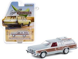 1981 Mercury Grand Marquis Colony Park Roof Rack Dove Gray Metallic Woodgrain Sides Estate Wagons Series 6 1/64 Diecast Model Car Greenlight 36010 E