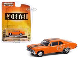 1968 Chevrolet Nova Orange Black Stripes Bad Boys II 2003 Movie Hollywood Series Release 31 1/64 Diecast Model Car Greenlight 44910 F