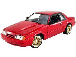 1990 Ford Mustang LX Street Fighter Red Gold Wheels Limited Edition 762 pieces Worldwide 1/18 Diecast Model Car GMP 18955