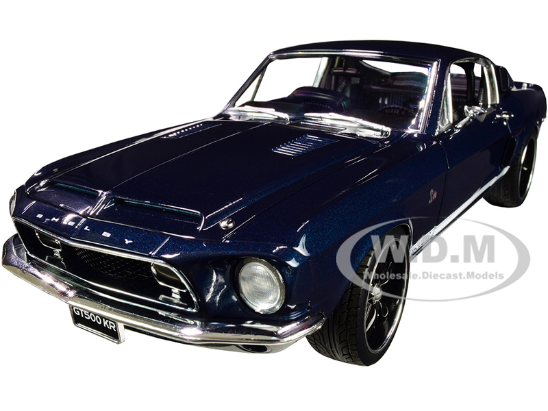 1968 Ford Mustang Shelby GT500KR Restomod King Cobra Midnight Blue White Stripes Limited Edition 732 pieces Worldwide 1/18 Diecast Model Car ACME A1801843
