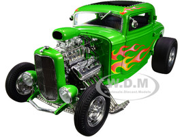 1932 Ford Blown 3 Window Hot Rod Rat Fink Bright Green Metallic Flames Limited Edition 990 pieces Worldwide 1/18 Diecast Model Car ACME A1805019