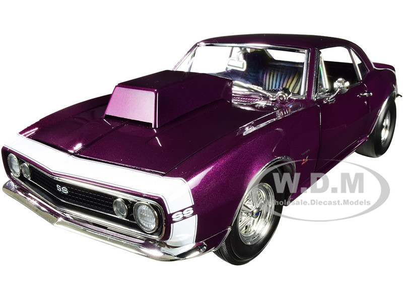 1967 Chevrolet Camaro SS Drag Outlaws Purple Haze White Nose Stripe Limited Edition 612 pieces Worldwide 1/18 Diecast Model Car ACME A1805721