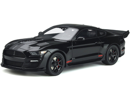 2020 Ford Mustang Shelby GT500 Concept Drag Snake Black Matt Black Stripes Graphics 1/18 Model Car by GT Spirit ACME US047