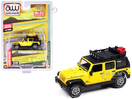 2018 Jeep Wrangler Rubicon Unlimited 4x4 Yellow Black Roof Rack Limited Edition 3600 pieces Worldwide 1/64 Diecast Model Car Autoworld CP7752