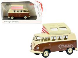 Volkswagen T1 Camper Bus Pop-Top Roof Brown Cream 1/64 Diecast Model Schuco 452026600