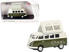 Volkswagen T1 Camper Bus Pop-Top Roof Green Cream 1/87 HO Diecast Model Schuco 452660400
