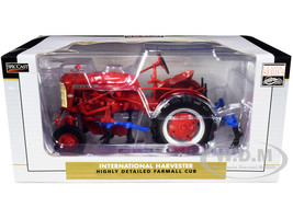 International Harvester Farmall Cub Tractor with 4 Row Cultivator Red Classic Series 1/16 Diecast Model SpecCast ZJD1893
