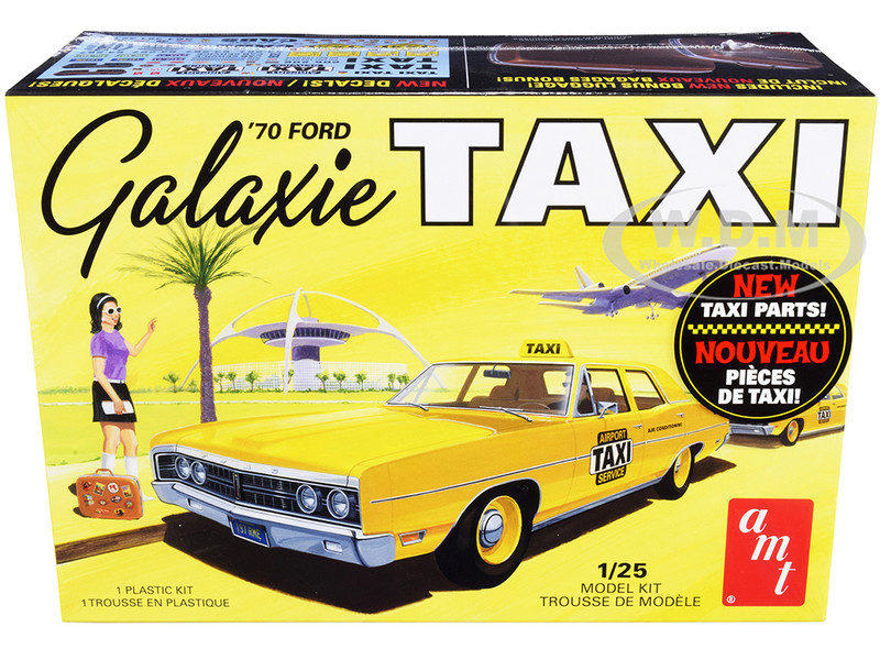 Skill 2 Model Kit 1970 Ford Galaxie Taxi with Luggage 1/25 Scale Model AMT AMT1243 M