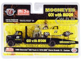 1968 Chevrolet C60 Ramp Truck Black 1976 GMC Sierra Grande 15 Custom Yellow Mooneyes Limited Edition 5500 pieces Worldwide 1/64 Diecast Models M2 Machines 39200-MJS05