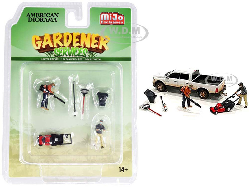 Gardener Services Diecast Set of 6 pieces 2 Figurines 4 Accessory for 1/64 Scale Models American Diorama 76474