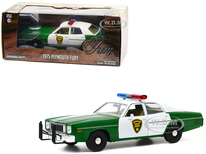 1975 Plymouth Fury Green White Chickasaw County Sheriff 1/24 Diecast Model Car Greenlight 84096