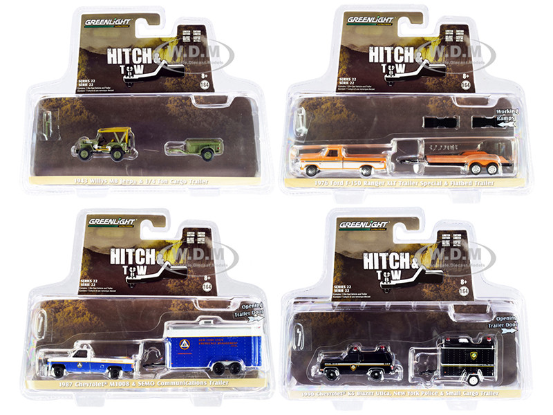Hitch & Tow Set of 4 pieces Series 22 1/64 Diecast Model Cars Greenlight 32220
