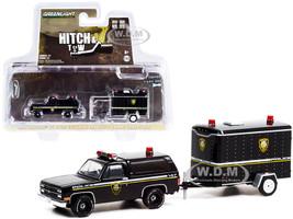 1990 Chevrolet K5 Blazer Black Small Cargo Trailer Utica Police Department New York Hitch & Tow Series 22 1/64 Diecast Model Car Greenlight 32220 D