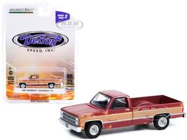 1983 Chevrolet Silverado C-10 Pickup Truck Burgundy Tan Sides Weathered Detroit Speed Inc Series 2 1/64 Diecast Model Car Greenlight 39070 E