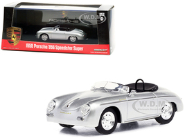 1958 Porsche 356 Speedster Super Silver Metallic 1/43 Diecast Model Car Greenlight 86597