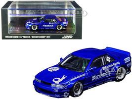 Nissan Silvia S13 V2 RHD Right Hand Drive Pandem Rocket Bunny Blue Metallic Graphics 1/64 Diecast Model Car Inno Models IN64-S13V2-BLUM