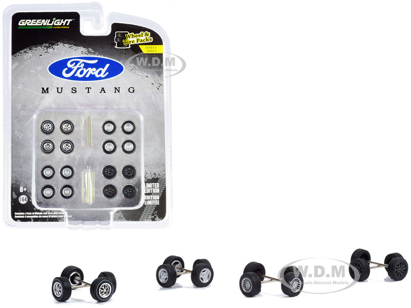 Ford Mustang Wheels Tires Multipack Set of 24 pieces Wheel & Tire Packs Series 5 for 1/64 Scale Models Greenlight 16090 C