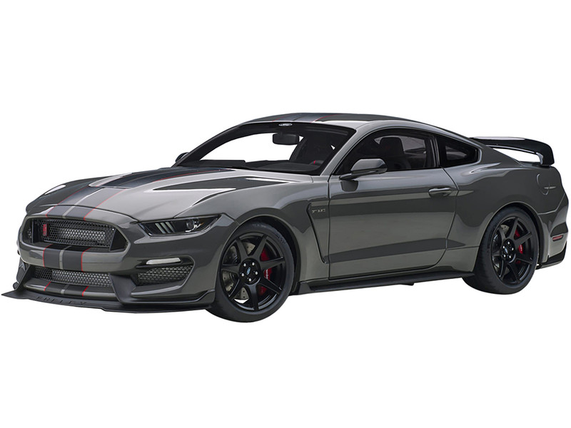 Ford Mustang Shelby GT-350R Lead Foot Gray Black Red Stripes 1/18 Model Car Autoart 72930