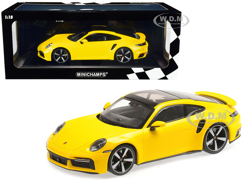 2020 Porsche 911 Turbo S Sunroof Yellow Limited Edition 302 pieces Worldwide 1/18 Diecast Model Car Minichamps 155069071