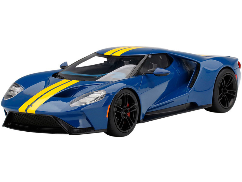 Ford GT Sunoco Blue Yellow Stripes 1/18 Model Car Top Speed TS0305