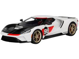 2021 Ford GT #98 White Black Hood Heritage Edition 1/18 Model Car Top Speed TS0317