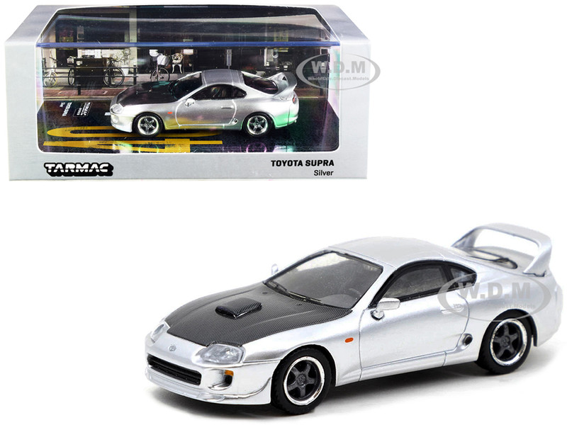 Toyota Supra Silver Carbon Black Hood 1/64 Diecast Model Car Tarmac Works T64-011-SG
