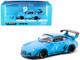 Porsche RWB 993 #9 Rauh Passion Bright Blue Graphics 1/64 Diecast Model Car Tarmac Works T64-017-RP