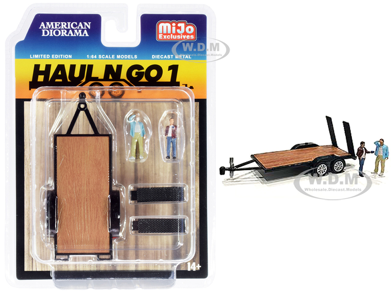 Haul N Go 1 Trailer 2 Figurines Diecast Set 3 pieces 1/64 Scale Models American Diorama 38377