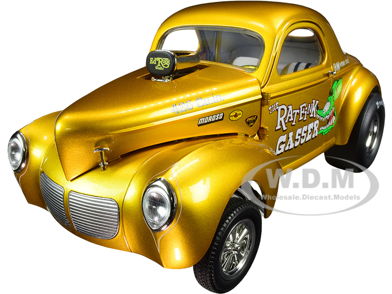 1940 Willys Gasser The Rat Fink Yellow Metallic Graphics Limited Edition 732 pieces Worldwide 1/18 Diecast Model Car ACME A1800919