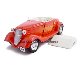 1934 Ford Custom Convertible Hot Rod Orange 1/24 Diecast Car Unique Replicas 18543