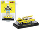 1957 Chevrolet Sedan Delivery Yellow White Top Surfboard Mooneyes Santa Fe Springs Limited Edition 7150 pieces Worldwide 1/64 Diecast Model Car M2 Machines 31500-HS18