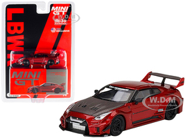 Nissan 35GT-RR Ver 1 LB-Silhouette Works GT Lava Red Metallic Carbon Hood Limited Edition 2400 pieces Worldwide 1/64 Diecast Model Car True Scale Miniatures MGT00191