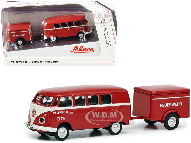 Volkswagen T1c Bus Trailer Red Cream Feuerwehr Fire Department 1/87 HO Diecast Models Schuco 452661800