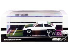 Toyota Sprinter Trueno AE86 RHD Right Hand Drive White Black Extra Wheels Japan Special Edition 1/64 Diecast Model Car Inno Models IN64-AE86T-WHB