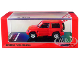 Mitsubishi Pajero Evolution RHD Right Hand Drive Red Extra Wheels 1/64 Diecast Model Car Inno Models IN64-EVOP-RED