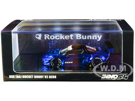 NSX NA Rocket Bunny V2 Aero RHD Right Hand Drive Chrome Blue Black Top 1/64 Diecast Model Car Inno Models IN64-NSXP-BCH