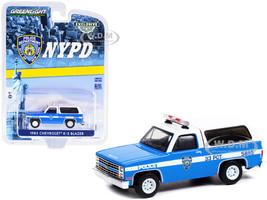 1985 Chevrolet K-5 Blazer Light Blue White New York City Police Department NYPD Hobby Exclusive 1/64 Diecast Model Car Greenlight 30245