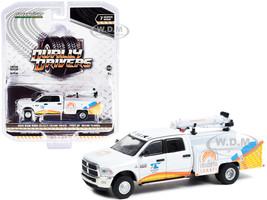 2015 RAM 3500 Dually Crane Truck Port of Miami Tunnel White Graphics Dually Drivers Series 7 1/64 Diecast Model Car Greenlight 46070 C