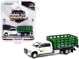 2018 RAM 3500 Dually Stake Truck Waste Management White Green Dually Drivers Series 7 1/64 Diecast Model Car Greenlight 46070 E