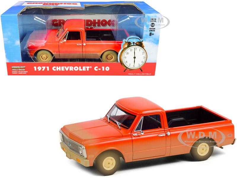 1971 Chevrolet C-10 Pickup Truck Orange Dirty Groundhog Day 1993 Movie 1/24 Diecast Model Car Greenlight 84131