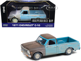 1971 Chevrolet C-10 Pickup Truck Brown Light Blue Weathered Independence Day 1996 Movie 1/24 Diecast Model Car Greenlight 84132