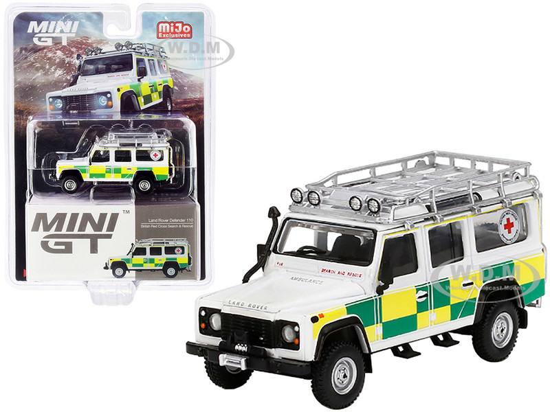 Land Rover Defender 110 RHD Right Hand Drive British Red Cross Search & Rescue 1/64 Diecast Model Car True Scale Miniatures MGT00159