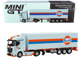 Mercedes Benz Actros Trailer 40' Container Gulf Oil Light Blue Stripes 1/64 Diecast Model True Scale Miniatures MGT00213