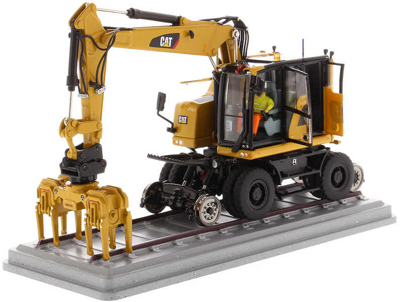 CAT Caterpillar M323F Railroad Wheeled Excavator Operator 3 Work Tools CAT Yellow Version High Line Series 1/50 Diecast Model Diecast Masters 85662