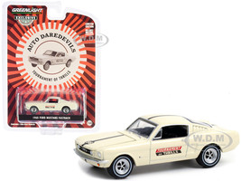 1965 Ford Mustang Fastback #56 Cream Auto Daredevils Tournament Of Thrills Hobby Exclusive 1/64 Diecast Model Car Greenlight 30265