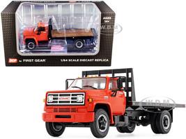 GMC 6500 Flatbed Truck Orange 1/64 Diecast Model DCP First Gear 60-0916