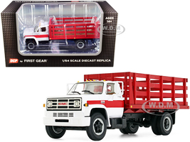 GMC 6500 Stake Truck White Red 1/64 Diecast Model DCP First Gear 60-0917
