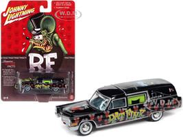 1966 Cadillac Hearse Rat Fink Black with Graphics 1/64 Diecast Model Car Johnny Lightning JLSP142